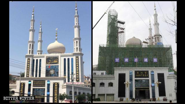 甘肅蘭州一座清真寺標誌被拆中