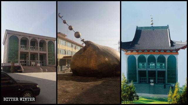 2019年11月,白銀市一座清真寺圓頂被拆