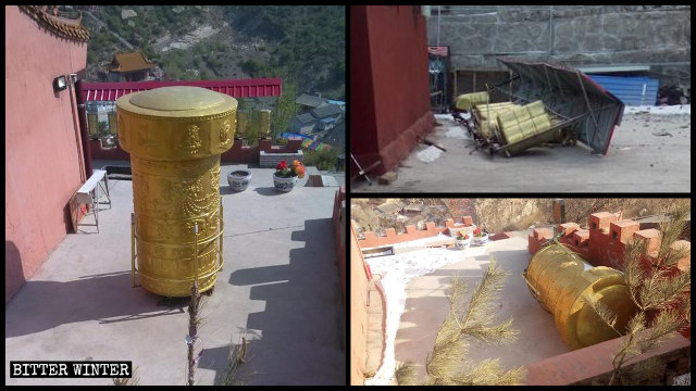 2019年11月,山西省怀仁市清凉寺转经筒被拆