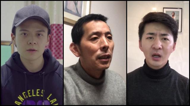 左起李澤華、方斌、陳秋實,報道武漢疫情後被抓捕(圖片取自三位的YoutTube頻道)
