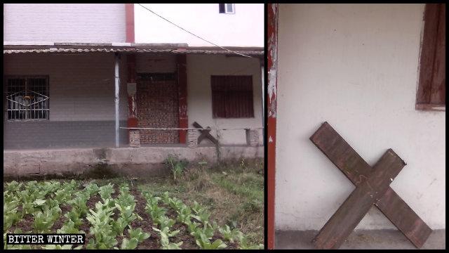 真耶穌教會聚會點門被封死,十字架被鋸掉