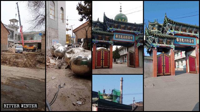 華亭市東大寺、東川寺的圓頂和星月標誌被拆除