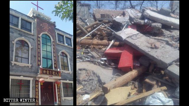 夏莊基督教堂被拆前後