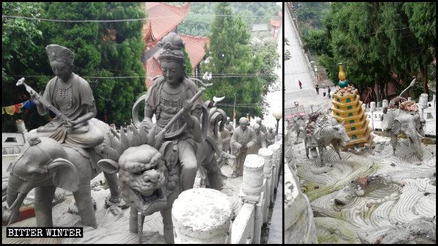 羅漢寺外的21尊羅漢像剛建成不久就被拆除