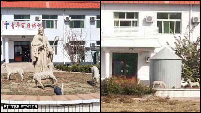 「青年百日培訓」樓的牌子被摘掉,門口的耶穌聖像被鐵皮圍上