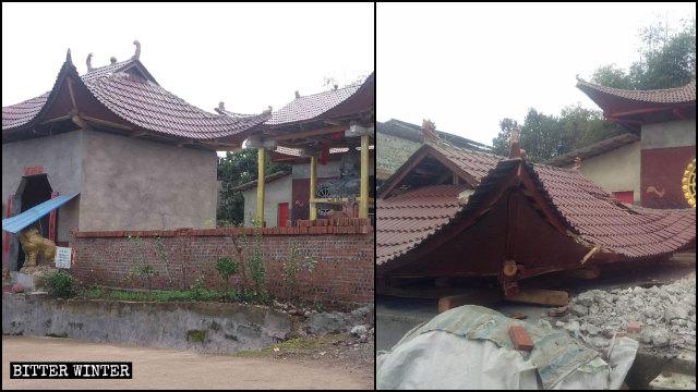 佛爺寺內的佛像被移除,亭子被拆除