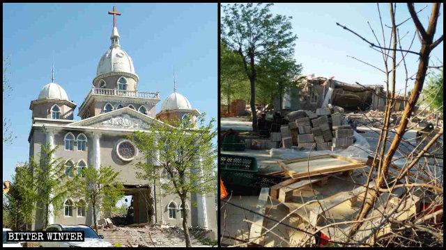 武漢肺炎疫情期間濰坊市一座三自教堂被拆毀