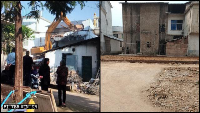 江西省上饒市老地方家庭教會聚會點被夷為平地