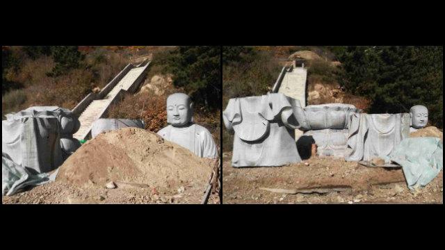 承德市普法寺地藏王菩薩像遭肢解拆毀(知情人提供)