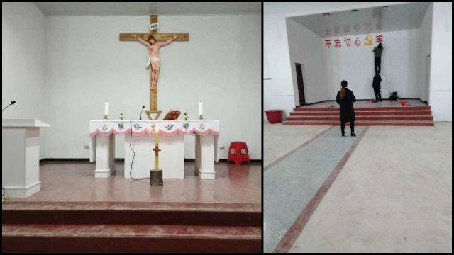 餘江教區一教堂耶穌十字架苦像被拆下後,被迫貼上了中共標語(知情人提供)