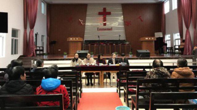 去年年底,江蘇省啓東市政府人員到一基督教堂主持換屆選舉工作(網絡圖片)