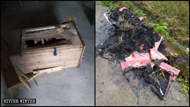 教會奉獻箱被打破,貼在牆上的聖經經文也被燒毀