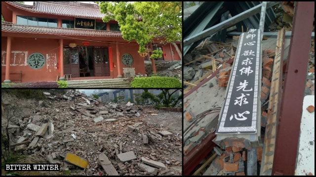 溫嶺市百年古寺楊府廟原貌和側殿、兩幢廂房被拆後