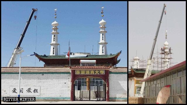 甘肅省白銀市永樂清真大寺穹頂和宣禮塔於今年4月被拆除(知情人提供)