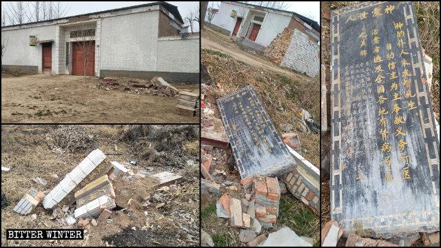 劉安山醫生診所門口的功德碑被移走