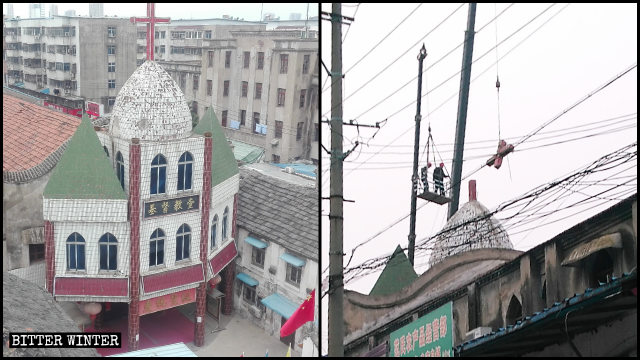 阜陽市鼓樓教堂十字架被拆除