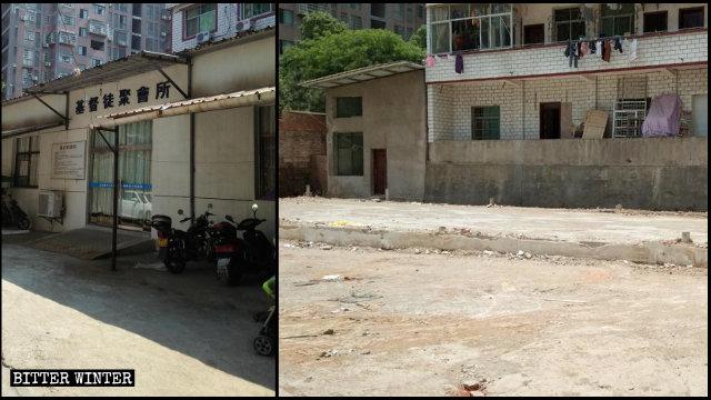 上饒市老地方家庭教會聚會點被拆除前後