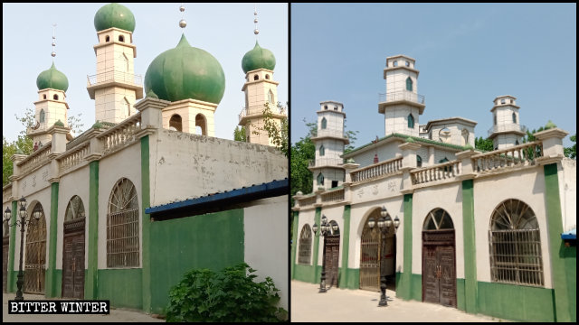 民權縣褚廟鄉清真寺5個圓頂和星月標誌全被拆除(前後對比圖)