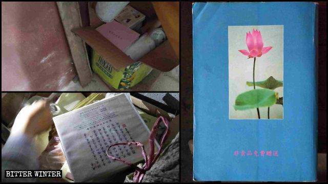 江西省九江市一寺廟負責人將被查禁書籍藏起來(左為記者拍攝,右為知情人提供)