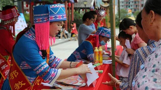 7月18日,廣西省河池市利用「祝著節」開展「反邪教」宣傳活動(網絡圖片)