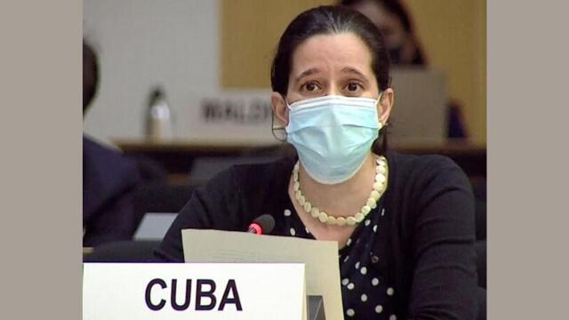 古巴代表正在日內瓦人權理事會上介紹53國挺中共的聯合聲明 (聯合國網絡電視截圖)