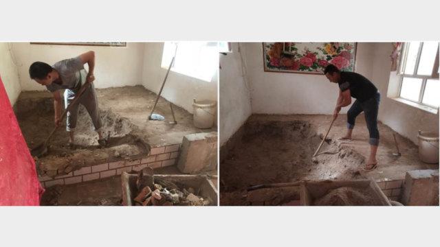 中共派來的「朋友」正「幫忙」拆除一維吾爾族家裡的蘇帕(圖片來自推特)