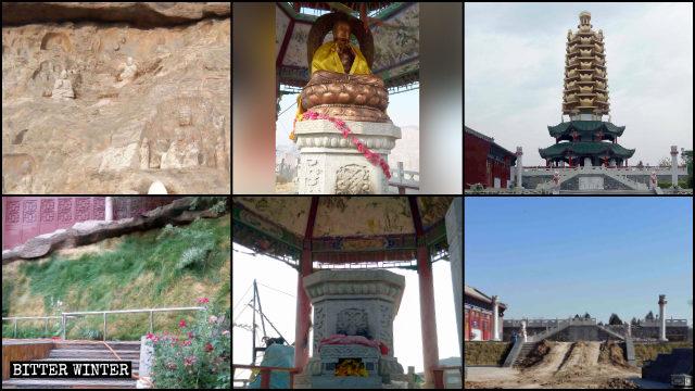 佛壁被遮蓋、眾多佛像及寺院周圍的佛像被毀、元寶塔被拆