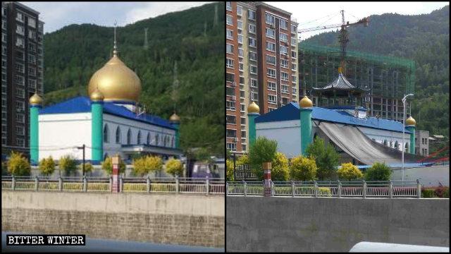 吉林臨江市一清真寺圓頂被整改成中國傳統涼亭
