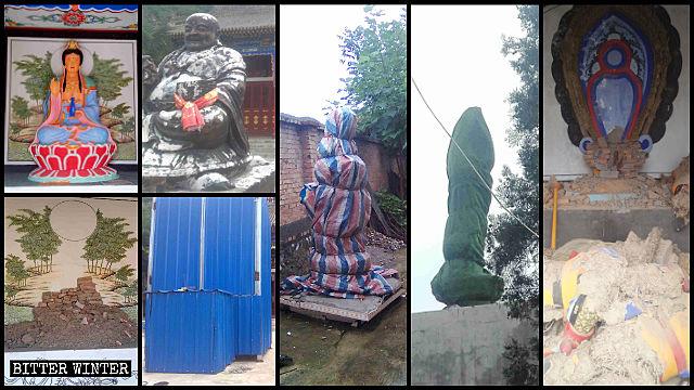 三官殿被砸毀的佛像