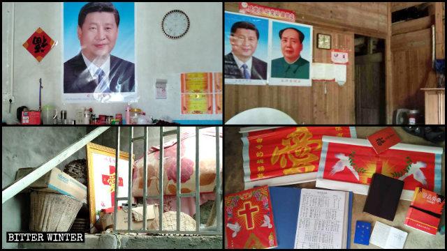 江西九江市、南昌市貧困基督徒家中信仰標誌被摘除,換貼習近平和毛澤東畫像