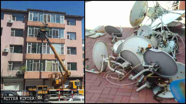 工作人員正在拆除「衛星鍋」