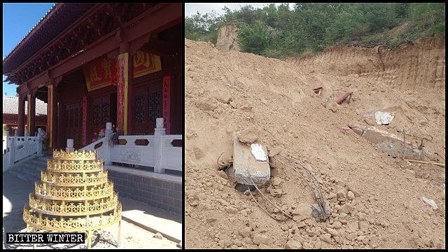 延安市高坡村普淨寺被拆前後
