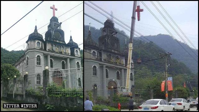 永福村一三自教堂十字架被強拆