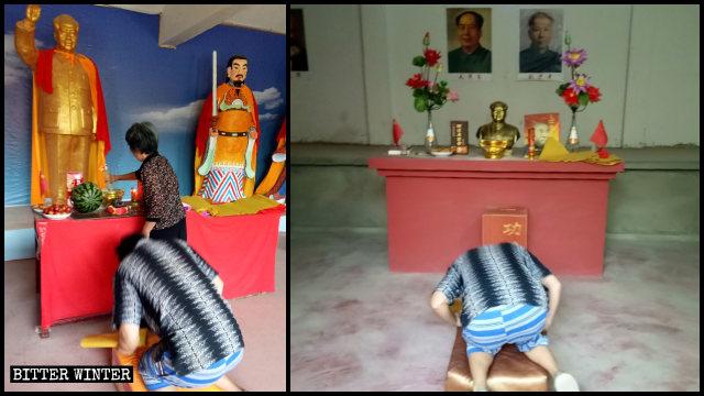 疫情期間,人在毛澤東天神廟內祭拜