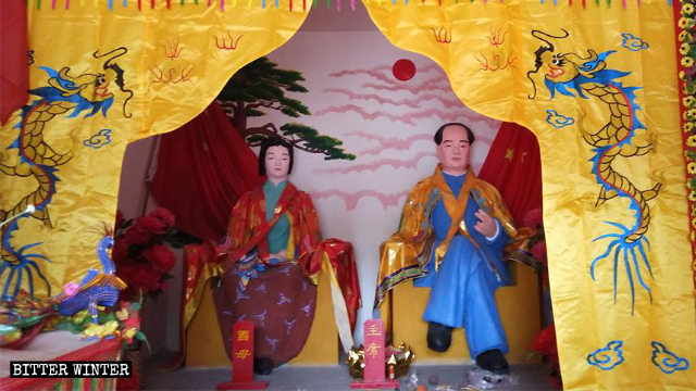 青州一座供奉著毛澤東和楊開慧塑像的民間寺廟香火旺盛