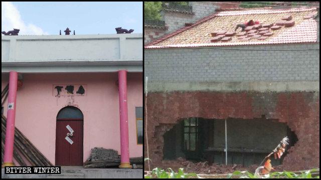 下堡廟後牆被砸出大洞
