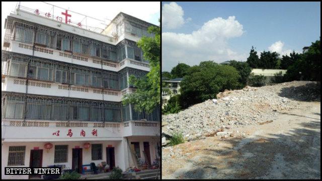 鼓山鎮五層樓的養老院被拆為廢墟