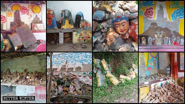 廟宇中所有造像被搗毀