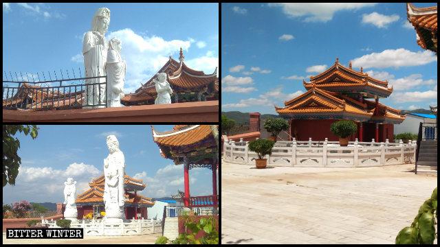 菩提寺內的滴水觀音和金童玉女露天造像被拆除