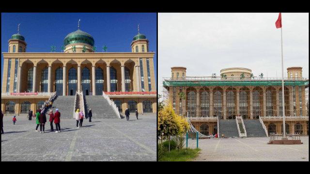 7月,西夏區興涇鎮和清真大寺圓頂被拆除(知情人提供)