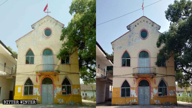 教堂屋頂的十字架被拆除