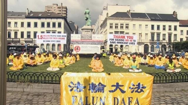 法輪功學員在布魯塞爾歐洲議會門前抗議中國強摘器官