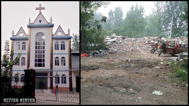 銀張村被強拆的三自教堂