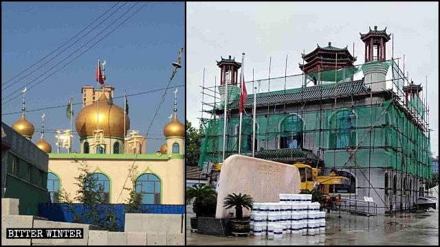 唐山市胥各莊鎮清真寺的圓頂被整改成中國式六角亭