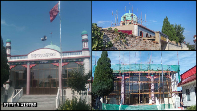 河北定州市叮嚀店鎮營北莊清真寺圓頂、新月標誌等被拆除