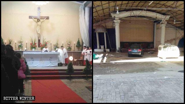 油通村天主教堂清空後被改為停車場
