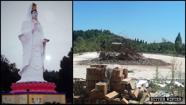 玉皇廟的露天白觀音像被強拆(左為知情人提供,右為記者拍攝)