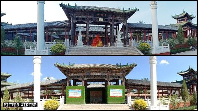 8月,千佛寺大門處3尊佛像拆除