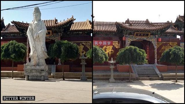 水陸寺院外的一尊菩薩像被拆除