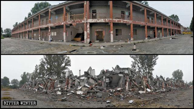 蓮花源寺的居士的住處被拆毀前後